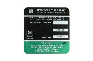72-73 350 AC Compressor Frigidaire Decal