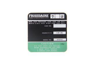 74-75 350 AC Compressor Frigidaire Decal