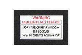 1953-1956E Corvette Convertible Top Rear Window Tag