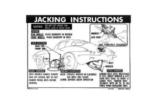 1963-1966 Corvette NO3 & Knock-Off Jacking Instruction Decal