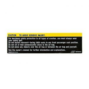 1990-1996 Corvette Sunvisor Air Bag Warning Label (on Mirror)