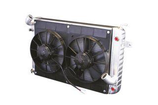 68-72 327/350 w/o AC Conversion Direct Fit Aluminum Radiator & Fan Combo