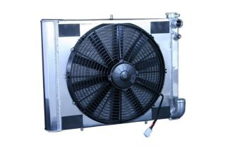 63-67 327 & 68-72 350 4-spd w/o AC LS Conversion Direct Fit Aluminum Radiator & Fan Combo