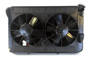 66-67 327 w/4-spd LS Conversion Direct Fit Aluminum Radiator & Fan Combo