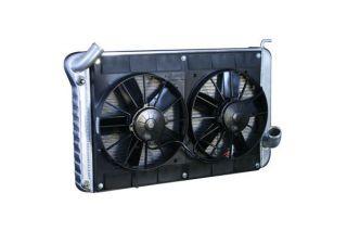 63-65 327 w/4-spd Conversion Direct Fit Aluminum Radiator & Fan Combo