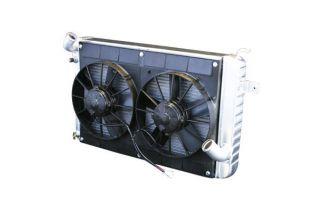 66-67 327 w/4-spd Conversion Direct Fit Aluminum Radiator & Fan Combo
