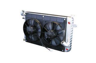 66-67 327 w/Auto Conversion Direct Fit Aluminum Radiator & Fan Combo