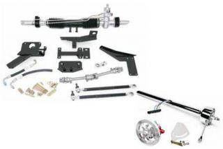1953-1957 Corvette Steeroids Rack & Pinion Kit - Power (Black Column)