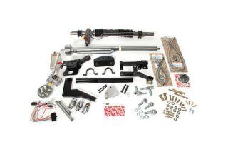 55-57 w/Headers Steeroids Rack & Pinion Kit - Power (Chrome Column)