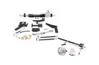 58-62 w/Headers Steeroids Rack & Pinion Kit - Power (Chrome Column)
