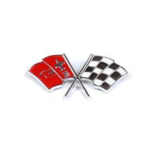 1963-1965 Corvette FI Plenum Crossflag Emblem