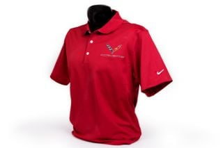 C7 Corvette Emblem Men's Nike Dri-Fit Polo in Red
