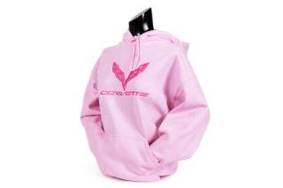 Ladies C7 Corvette Pink Hooded Sweatshirt