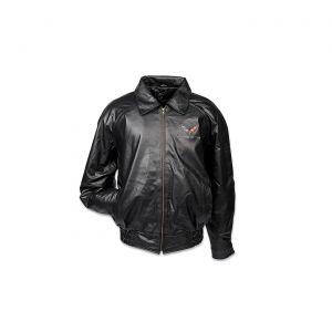 Men's Textured Lambskin Leather Jacket w/C7 Emblem