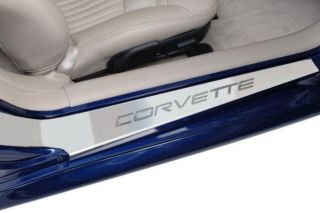 """97-04 Stainless Etched """"Corvette"""" Door Sills - Brand Image"""