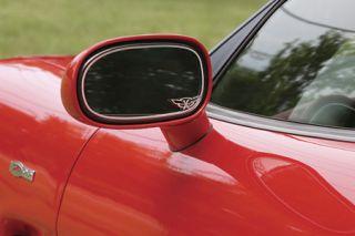 "1997-2004 Corvette Exterior Mirror Stainless Trim w/""C5 Emblem"""