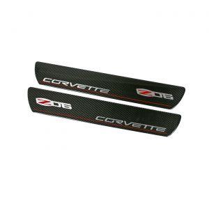 2006-2013 Corvette Carbon Fiber Sill Plates w/Z06 Emblem