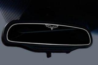 "2005-2013 Corvette Inside Mirror Stainless Trim w/""C6 Emblem"" (STD Mirror)"