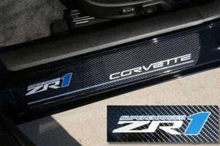 GM Licensed C6 Z06 505HP Corvette Door Sill Plates Carbon Fiber 2006-2013