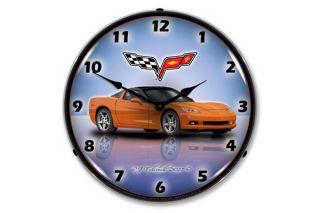 C6 Inferno Orange Corvette Lighted Clock