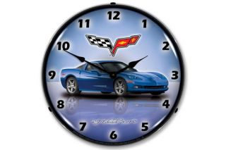 C6 Jetstream Blue Corvette Lighted Clock