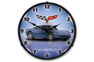 C6 Supersonic Blue Corvette Lighted Clock