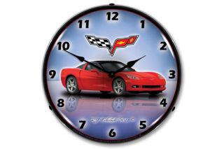 C6 Torch Red Corvette Lighted Clock