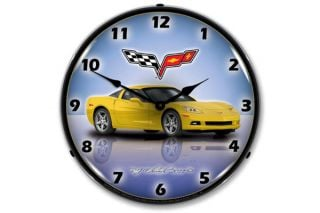 C6 Velocity Yellow Corvette Lighted Clock