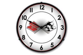 C1 Corvette Emblem Lighted Clock