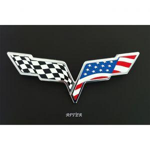 2005-2013 Corvette C6 Emblem American Flag Overlay
