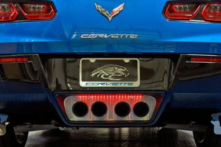 2014-2018 Corvette w/o NPP Polished/Perforated Exhaust Filler Panel (Illuminated)