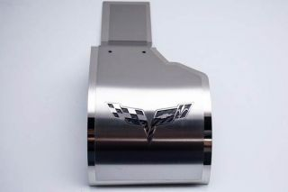 05-13 Deluxe Stainless Alternator Cover w/Corvette Emblem (Accessory Color)