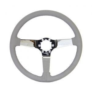 68-82 Chrome 3-Spoke Leather Steering Wheel (Interior Color)