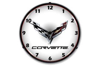 C7 Corvette Emblem Lighted Wall Clock