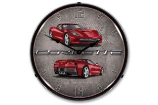 C7 Crystal Red Corvette Lighted Wall Clock