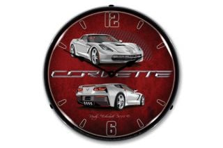 C7 Blade Silver Corvette Lighted Wall Clock