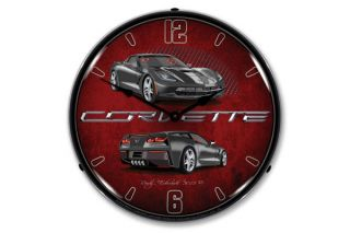 C7 Cyber Gray Corvette Lighted Wall Clock