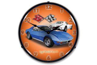1971 Blue Corvette Lighted Wall Clock
