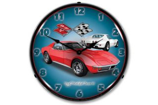1971 Red Corvette Lighted Wall Clock