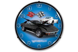 1971 Black Corvette Lighted Wall Clock