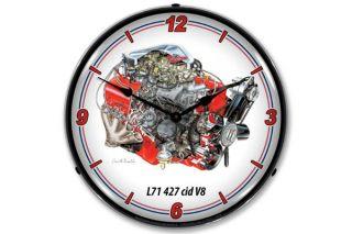 David Kimble 427 L71 Engine Lighted Wall Clock