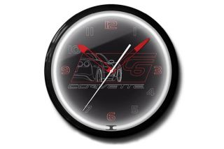 C6 Corvette Black 20in Neon Clock