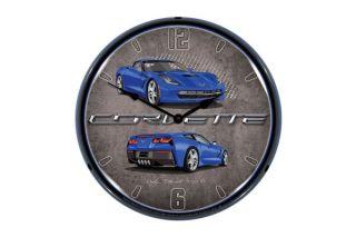 C7 Laguna Blue Corvette Lighted Wall Clock