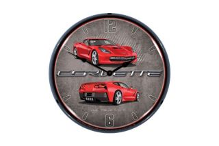 C7 Torch Red Corvette Lighted Wall Clock