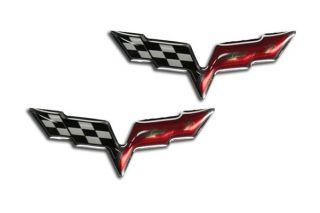 05-13 C6 Corvette 1 3/4in Domed Cross Flag Emblems (2pc)