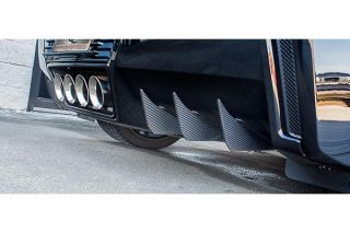 14-19 Stainless/carbon Wrap Rear Diffuser Fins (6pc)