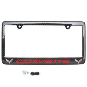 14-19 Carbon Fiber License Plate Frame w/C7 Double Emblem