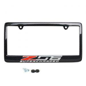 15-19 Carbon fiber License Plate Frame w/Z06 Emblem