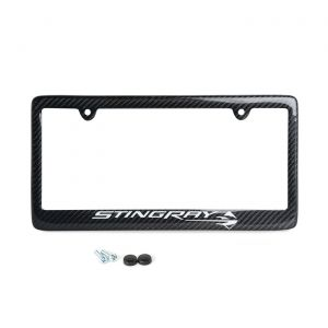 14-19 Carbon Fiber License Plate Frame w/Stingray Emblem