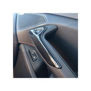 14-19 Carbon Fiber Look Door Opening Button Bezel Overlays